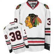 Wholesale Cheap Blackhawks #38 Ryan Hartman White Road Stitched Youth NHL Jersey