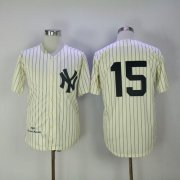 Wholesale Cheap Mitchell And Ness 1969 Yankees #15 Thurman Munson Cream Throwback Stitched MLB Jersey