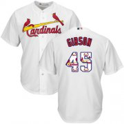 Wholesale Cheap Cardinals #45 Bob Gibson White Team Logo Fashion Stitched MLB Jersey