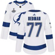 Cheap Adidas Lightning #77 Victor Hedman White Road Authentic Women's 2020 Stanley Cup Champions Stitched NHL Jersey