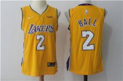 Wholesale Cheap Nike Los Angeles Lakers #2 Lonzo Ball Yellow Stitched NBA Jersey