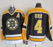 Wholesale Cheap Bruins #4 Bobby Orr Black CCM Throwback New Stitched NHL Jersey