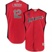 Wholesale Cheap Indians #12 Francisco Lindor Red 2019 All-Star American League Stitched MLB Jersey