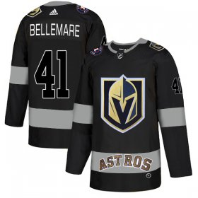 Wholesale Cheap Adidas Golden Knights X Astros #41 Pierre-Edouard Bellemare Black Authentic City Joint Name Stitched NHL Jersey