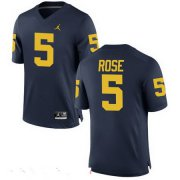 Wholesale Cheap Men's Michigan Wolverines #5 Jalen Rose Retired Navy Blue Stitched College Football Brand Jordan NCAA Jersey