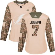 Cheap Adidas Lightning #7 Mathieu Joseph Camo Authentic 2017 Veterans Day Women's Stitched NHL Jersey