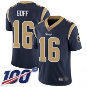 Wholesale Cheap Nike Rams #16 Jared Goff Navy Blue Team Color Men's Stitched NFL 100th Season Vapor Limited Jersey