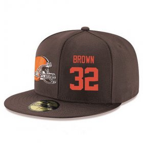 Wholesale Cheap Cleveland Browns #32 Jim Brown Snapback Cap NFL Player Brown with Orange Number Stitched Hat