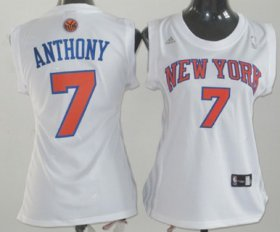 Wholesale Cheap New York Knicks #7 Carmelo Anthony White Womens Jersey