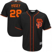 Wholesale Cheap Giants #28 Buster Posey Black Alternate New Cool Base Stitched MLB Jersey
