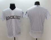 Wholesale Cheap Rockies Blank White Flexbase Authentic Collection Stitched MLB Jersey