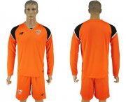 Wholesale Cheap Sevilla Blank Orange Goalkeeper Long Sleeves Soccer Club Jersey