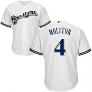 Wholesale Cheap Brewers #4 Paul Molitor White Cool Base Stitched Youth MLB Jersey