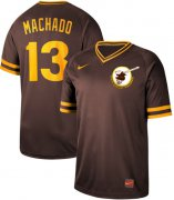 Wholesale Cheap Nike Padres #13 Manny Machado Brown Authentic Cooperstown Collection Stitched MLB Jersey