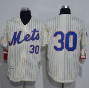 Wholesale Cheap Mitchell And Ness 1969 Mets #30 Nolan Ryan Cream(Blue Strip) Throwback Stitched MLB Jersey