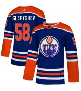 Wholesale Cheap Adidas Oilers #58 Anton Slepyshev Royal Blue Sequin Embroidery Fashion Stitched NHL Jersey