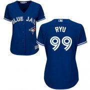 Wholesale Cheap Blue Jays #99 Hyun-Jin Ryu Blue Alternate Women's Stitched MLB Jersey