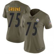 Wholesale Cheap Nike Steelers #75 Joe Greene Olive Women's Stitched NFL Limited 2017 Salute to Service Jersey