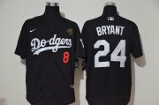 Wholesale Cheap Los Angeles Dodgers #8 #24 Kobe Bryant Men's Nike Black Cool Base 2020 KB Patch MLB Jersey