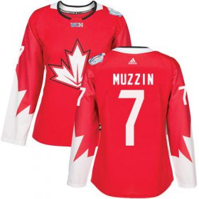 Wholesale Cheap Team Canada #7 Jake Muzzin Red 2016 World Cup Women\'s Stitched NHL Jersey