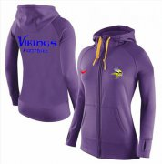 Wholesale Cheap Women's Nike Minnesota Vikings Full-Zip Performance Hoodie Purple_1
