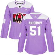 Wholesale Cheap Adidas Senators #51 Artem Anisimov Purple Authentic Fights Cancer Women's Stitched NHL Jersey