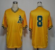 Wholesale Mitchell And Ness Athletics #8 Joe Morgan Yellow Stitched Baseball Jersey
