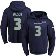 Wholesale Cheap Nike Seahawks #3 Russell Wilson Navy Blue Name & Number Pullover NFL Hoodie