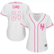 Wholesale Cheap Mets #24 Robinson Cano White/Pink Fashion Women's Stitched MLB Jersey
