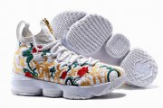 Wholesale Cheap Nike Lebron James 15 Air Cushion Shoes Flowers and Plants White