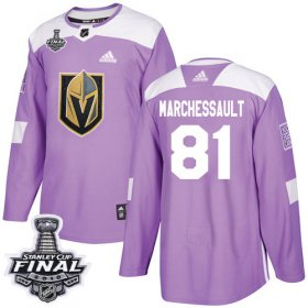 Wholesale Cheap Adidas Golden Knights #81 Jonathan Marchessault Purple Authentic Fights Cancer 2018 Stanley Cup Final Stitched Youth NHL Jersey