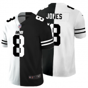 Cheap New York Giants #8 Daniel Jones Men's Black V White Peace Split Nike Vapor Untouchable Limited NFL Jersey