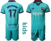 Wholesale Cheap Barcelona #17 Griezmann Third Kid Soccer Club Jersey