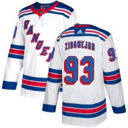 Wholesale Cheap Adidas Rangers #93 Mika Zibanejad White Road Authentic Stitched Youth NHL Jersey