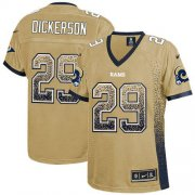 Wholesale Cheap Nike Rams #29 Eric Dickerson Gold Women's Stitched NFL Elite Drift Fashion Jersey