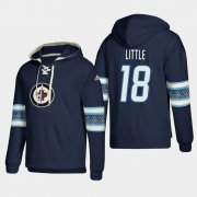 Wholesale Cheap Winnipeg Jets #18 Bryan Little Blue adidas Lace-Up Pullover Hoodie