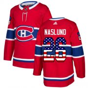 Wholesale Cheap Adidas Canadiens #26 Mats Naslund Red Home Authentic USA Flag Stitched NHL Jersey