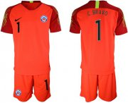 Wholesale Cheap Chile #1 C.Bravo Red Goalkeeper Soccer Country Jersey
