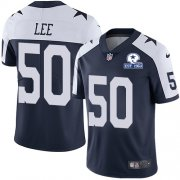 Wholesale Cheap Nike Cowboys #50 Sean Lee Navy Blue Thanksgiving Men's Stitched With Established In 1960 Patch NFL Vapor Untouchable Limited Throwback Jersey
