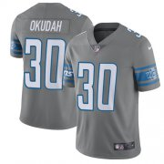 Wholesale Cheap Nike Lions #30 Jeff Okudah Gray Youth Stitched NFL Limited Rush Jersey