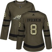 Wholesale Cheap Adidas Capitals #8 Alex Ovechkin Green Salute to Service Women's Stitched NHL Jersey