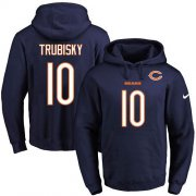 Wholesale Cheap Nike Bears #10 Mitchell Trubisky Navy Blue Name & Number Pullover NFL Hoodie