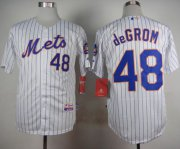 Wholesale Cheap Mets #48 Jacob DeGrom White(Blue Strip) Home Cool Base Stitched MLB Jersey