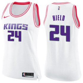 Wholesale Cheap Women\'s Sacramento Kings #24 Buddy Hield White Pink NBA Swingman Fashion Jersey