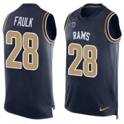 Wholesale Cheap Nike Rams #28 Marshall Faulk Navy Blue Team Color Men's Stitched NFL Limited Tank Top Jersey