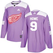 Wholesale Cheap Adidas Red Wings #9 Gordie Howe Purple Authentic Fights Cancer Stitched NHL Jersey