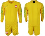 Wholesale Cheap Poland Blank Yellow Goalkeeper Long Sleeves Soccer Country Jersey