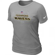 Wholesale Cheap Women's Nike Baltimore Ravens 2012 AFC Conference Champions Trophy Collection Long T-Shirt Light Grey