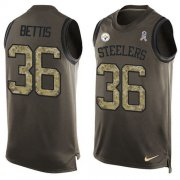 Wholesale Cheap Nike Steelers #36 Jerome Bettis Green Men's Stitched NFL Limited Salute To Service Tank Top Jersey