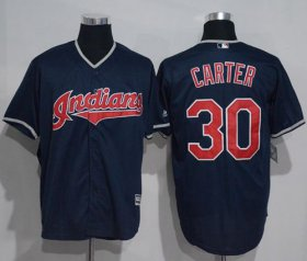 Wholesale Cheap Indians #30 Joe Carter Navy Blue New Cool Base Stitched MLB Jersey